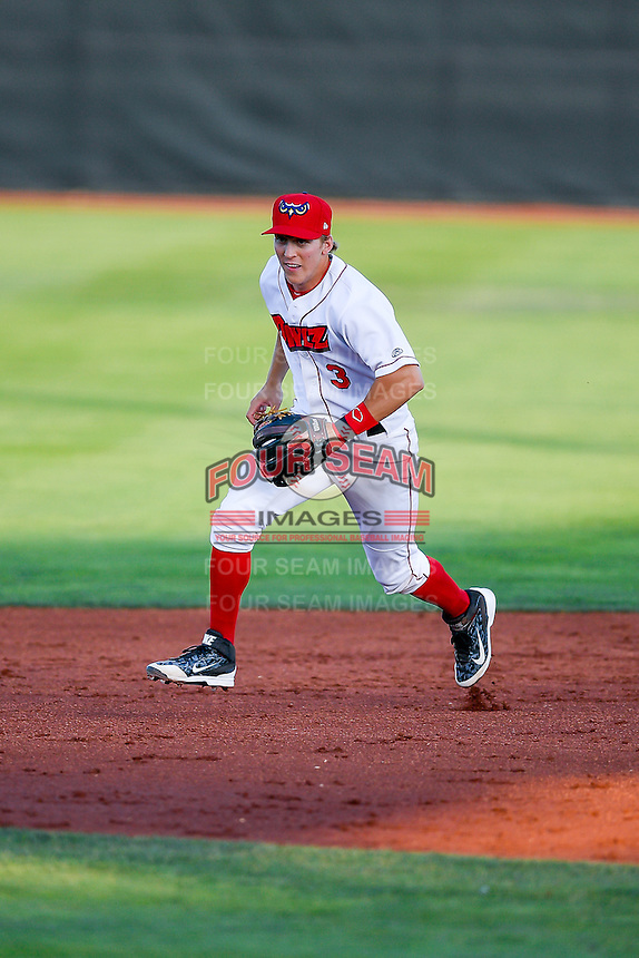 Jordan Zimmerman (3) of the Orem Owlz on defense against the Grand Junction Rockies in Pioneer League action at Home of the Owlz on July 7, 2016 in Orem, Utah. The Owlz defeated the Rockies 15-3. (Stephen Smith/Four Seam Images)