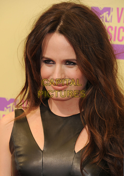 Elizabeth Reaser.arriving at the 2012 MTV Video Music Awards at Staples Center in Los Angeles, California, USA, .September 6th, 2012..arrivals vmas vma  portrait headshot  leather dress cut out shoulder .CAP/ROT/TM.©TM/Roth Stock/Capital Pictures