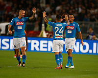 Lorenzo Insigne with Marek Hamsik  and Miguel Allan  during the  italian serie a soccer match, AS Roma -  SSC Napoli       at  the Stadio Olimpico in Rome  Italy , 14 ottobre 2017