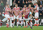 West Ham's Dimitri Payet takes a freekick as Stoke's players look on during the Premier League match at the London Stadium, London. Picture date November 5th, 2016 Pic David Klein/Sportimage