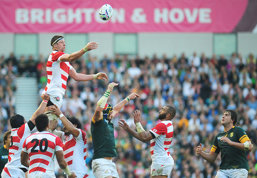 Japan's Luke Thompson wins the ball from the line-out<br /> <br /> Photographer Kevin Barnes/CameraSport<br /> <br /> Rugby Union - 2015 Rugby World Cup - Japan v South Africa - Saturday 19th September 2015 - The American Express Community Stadium - Falmer - Brighton<br /> <br /> &copy; CameraSport - 43 Linden Ave. Countesthorpe. Leicester. England. LE8 5PG - Tel: +44 (0) 116 277 4147 - admin@camerasport.com - www.camerasport.com