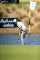 Jordan Smith (ENG) on the 18th green during the 3rd round of  the Saudi International powered by Softbank Investment Advisers, Royal Greens G&CC, King Abdullah Economic City,  Saudi Arabia. 01/02/2020<br /> Picture: Golffile | Fran Caffrey<br /> <br /> <br /> All photo usage must carry mandatory copyright credit (© Golffile | Fran Caffrey)