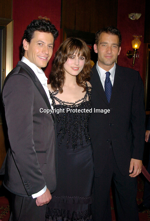 "Ioan Gruffudd,, Keira Knightley, and Clive Owen ..at the World Premiere of ""King Arthur"" on June 28, 2004 at ..the Ziegfeld Theatre. ..Photo by Robin Platzer, Twin Images"
