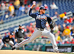 2 April 2011: Atlanta Braves starting pitcher Tommy Hanson on the mound against the Washington Nationals at Nationals Park in Washington, District of Columbia. The Nationals defeated the Braves 6-3 in the second game of their season opening series. Mandatory Credit: Ed Wolfstein Photo