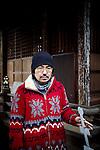 Tokyo, February 15 2011 - Portrait of Japanese writer Hideo Furukawa in a shinto shrine of the Nishi-Ogikubo area.