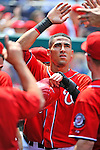 10 July 2011: Washington Nationals shortstop Ian Desmond returns to the dugout after scoring the game winning run against the Colorado Rockies at Nationals Park in Washington, District of Columbia. The Nationals shut out the visiting Rockies 2-0 salvaging the last game their 3-game series at home prior to the All-Star break. Mandatory Credit: Ed Wolfstein Photo