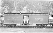 Baggage car #126 built by D&amp;RG as #27 in 1883.  Renumbered in September 1886.  Shows home-made door safety barrier in place.<br /> D&amp;RGW  Silverton, CO  Taken by Payne, Andy M. - 8/20/1954