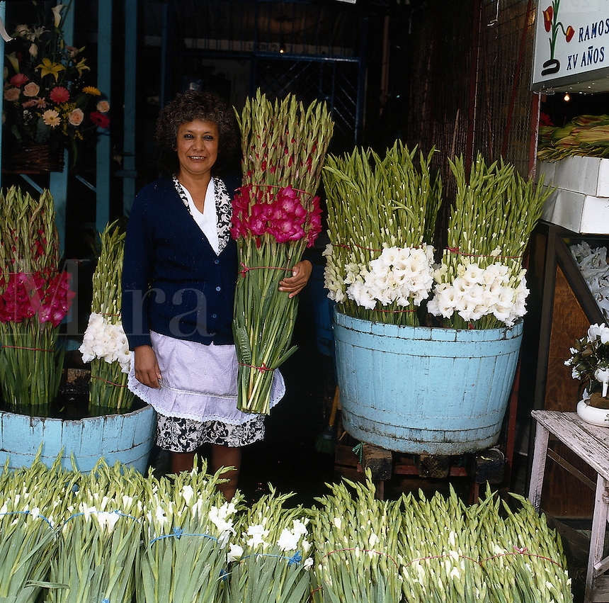 Flower vendor in Mexico City--series - woman with bunches of gladiolas; wholesale flower market. Mexico City Distrito Federal, Mexico.