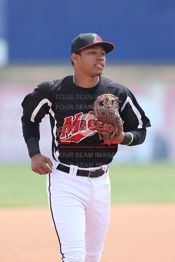 Luis Marte (16) of the High Desert Mavericks in the field during a game against the Bakersfield Blaze at Mavericks Stadium on May 18, 2015 in Adelanto, California. High Desert defeated Bakersfield, 7-6. (Larry Goren/Four Seam Images)