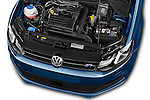 Car Stock 2016 Volkswagen Polo Blue-GT 5 Door Hatchback Engine  high angle detail view