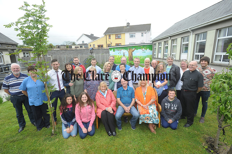 At the donation of a special memorial bench, in honor of the late Nancy Cusack, who was a resident for 19 years, to mark the official opening of the garden in the Ash unit of St Joseph's Hospital, Ennis. Photograph by John Kelly.