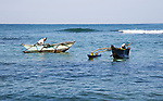 Fishing using traditional outrigger canoes, Mirissa, Sri Lanka, Asia
