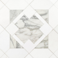 Kubuni Grand, a hand-cut and waterjet mosaic, shown in polished Thassos and honed Calacatta Tia. Designed by Joni Vanderslice as part of the J. Banks  Collection for New Ravenna.