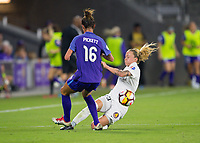 Orlando, FL - Saturday March 24, 2018: Utah Royals Gunnhildur Jonsdottir (23) tackles the ball away from Orlando Pride defender Carson Pickett (16) during a regular season National Women's Soccer League (NWSL) match between the Orlando Pride and the Utah Royals FC at Orlando City Stadium. The game ended in a 1-1 draw.