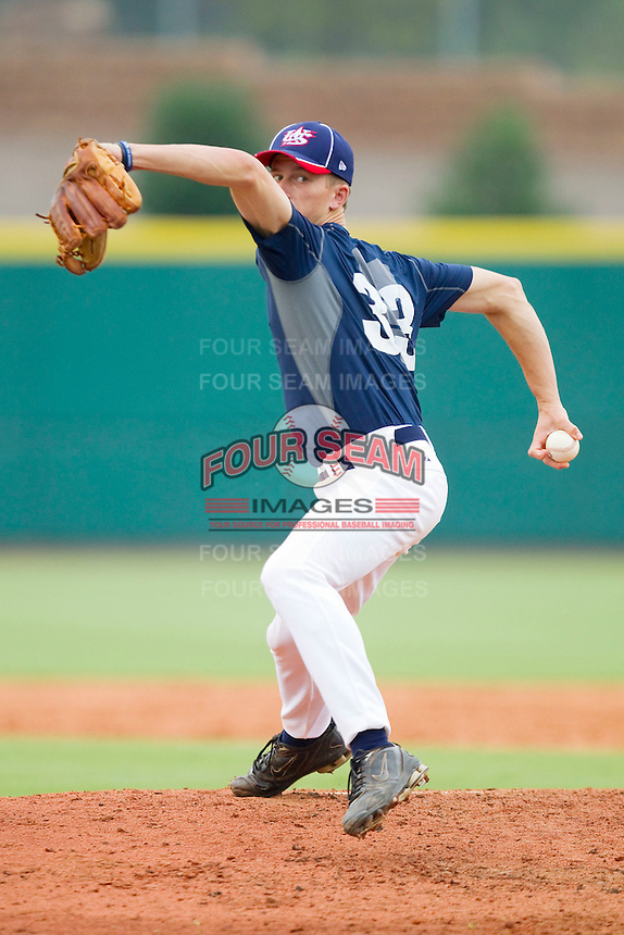 Kyle Smith #33 of Team Blue in action against Team Red during the USA Baseball 18U National Team Trials at the USA Baseball National Training Center on June 30, 2010, in Cary, North Carolina.  Photo by Brian Westerholt / Four Seam Images