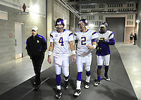 Dec 6, 2009; Glendale, AZ, USA; Minnesota Vikings quarterbacks (4) Brett Favre , (2) Sage Rosenfels and (7) Tarvaris Jackson prior to the game against the Arizona Cardinals at University of Phoenix Stadium. The Cardinals defeated the Vikings 30-17. Mandatory Credit: Mark J. Rebilas-