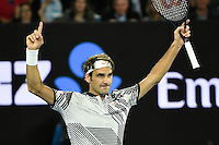 January 26, 2017: Roger Federer of Switzerland celebrates after winning a semifinals match against Stan Wawrinka of Switzerland on day 11 of the 2017 Australian Open Grand Slam tennis tournament in Melbourne, Australia. Photo Sydney Low