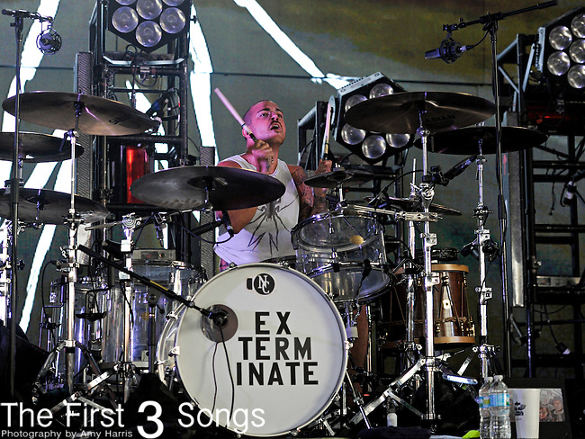Michael Pedicone of My Chemical Romance performs at Riverbend Music Center in Cincinnati, Ohio on August 21, 2011.