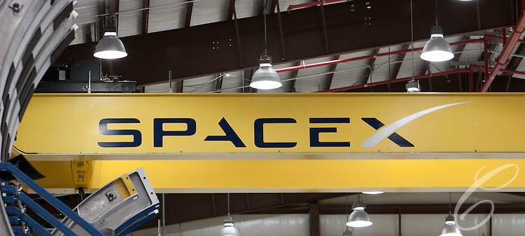 SpaceX's logo as seen in its Launch Complex 40  hangar at  Cape Canaveral, Florida.