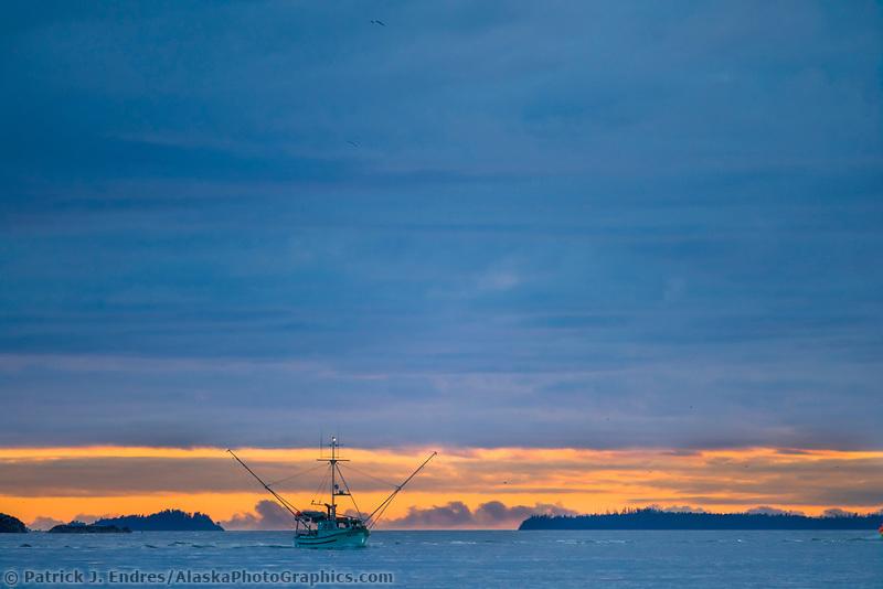 Commercial fishing trolling vessel in Sitka Sound, southeast, Alaska.