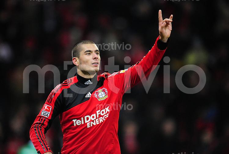 FUSSBALL  1. BUNDESLIGA   SAISON 2009/2010  18. SPIELTAG Bayer 04 Leverkusen - FSV Mainz 05                     16.10.2010   Eren DERDIYOK (Leverkusen) bejubelt seinen Treffer zum 4:2