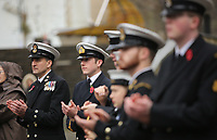 Pictured: Young people in uniform applaud before the two minute silence. Saturday 11 November 2017<br /> Re: Armistice Day, two minutes were observed to mark remembrance at Castle Square in Swansea, Wales, UK.