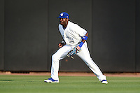 Dunedin Blue Jays outfielder Dwight Smith Jr. (25) during a game against the Daytona Cubs on April 14, 2014 at Florida Auto Exchange Stadium in Dunedin, Florida.  Dunedin defeated Daytona 1-0  (Mike Janes/Four Seam Images)