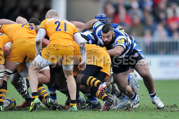 Kane Palma-Newport in action from the flank of a scrum. Aviva Premiership match, between Bath Rugby and London Wasps on February 22, 2014 at the Recreation Ground in Bath, England. Photo by: Patrick Khachfe / Onside Images