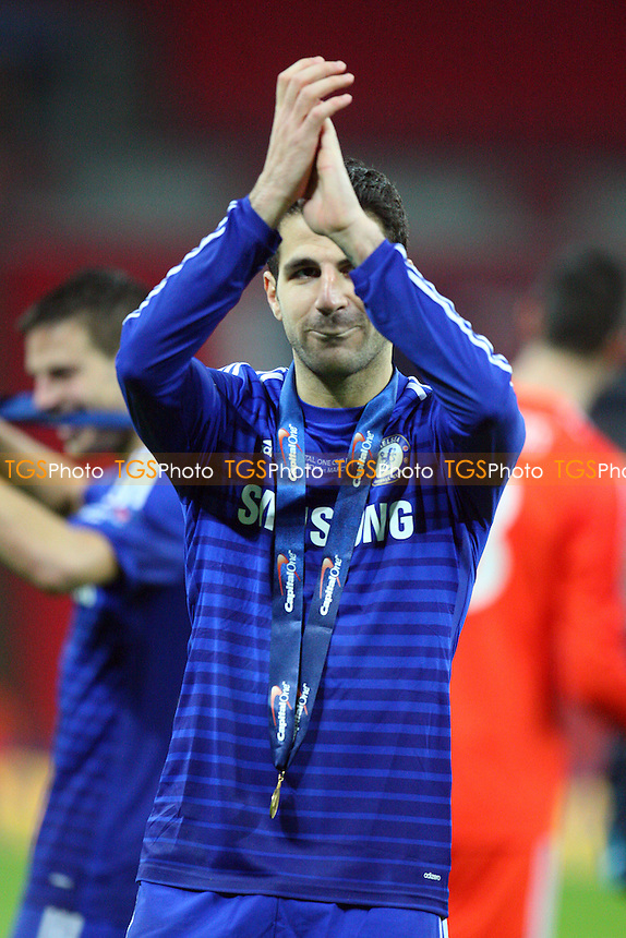 Cesc Fabregas of Chelsea applauds the Chelsea fans at the final whistle - Chelsea vs Tottenham Hotspur - Capital One Cup Final at Wembley Stadium on 01/03/15 - MANDATORY CREDIT: Dave Simpson/TGSPHOTO - Self billing applies where appropriate - 0845 094 6026 - contact@tgsphoto.co.uk - NO UNPAID USE