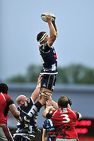 Nick Koster rises high to win lineout ball. Greene King IPA Championship Final, First Leg, between London Welsh and Bristol Rugby on May 28, 2014 at the Kassam Stadium in Oxford, England. Photo by: Patrick Khachfe / JMP