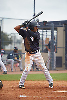 New York Yankees Ezequiel Duran (37) during a Minor League Spring Training game against the Atlanta Braves on March 12, 2019 at New York Yankees Minor League Complex in Tampa, Florida.  (Mike Janes/Four Seam Images)