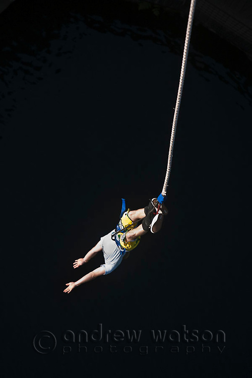 Man bungy jumping.  Smithfield, Cairns, Queensland, Australia