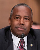 """United States Secretary of Housing and Urban Development (HUD) Ben Carson testifies during a hearing before the United States Senate Committee on Banking, Housing, and Urban Affairs entitled """"Housing Finance Reform: Next Steps"""" on Capitol Hill in Washington, DC on Tuesday, September 10, 2019.<br /> Credit: Ron Sachs / CNP"""