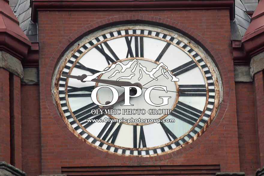 The clock from the Spokesman Review building in Spokane, Washington.