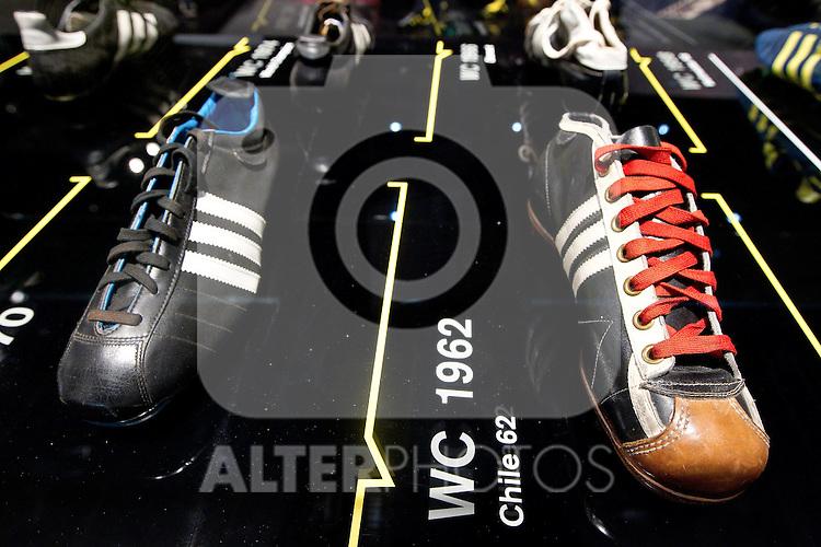 30.06.2010, Sandton Convention Centre, Johannesburg, RSA, FIFA WM 2010, Adidas Promotion im Bild historische Fussballschuhe der Marke Adidas,  Foto: nph /   Vid Ponikvar, ATTENTION! Slovenia OUT