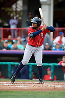 New Hampshire Fisher Cats first baseman Juan Kelly (25) at bat during a game against the Erie SeaWolves on June 20, 2018 at UPMC Park in Erie, Pennsylvania.  New Hampshire defeated Erie 10-9.  (Mike Janes/Four Seam Images)