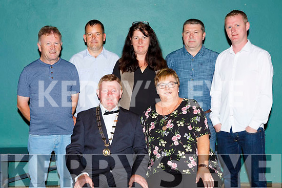 Outgoing Mayor John Crowley and his wife Mary with l-r: Flor O'Riordan, Pat Barr, Noreen O'Connor, Dave McAulliffe and Thomas Carmody at the Mayor election dance in Gneeveguilla on Friday night