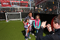 Former national team member Jimmy Conrad poses for a photo during the centennial celebration of U. S. Soccer at Times Square in New York, NY, on April 04, 2013.