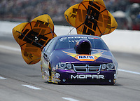 Apr. 28, 2012; Baytown, TX, USA: NHRA pro stock driver Vincent Nobile during qualifying for the Spring Nationals at Royal Purple Raceway. Mandatory Credit: Mark J. Rebilas-