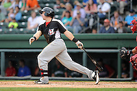 Infielder Nick Vickerson (28) of the Hickory Crawdads bats in a game against the Greenville Drive on Sunday, June 9, 2013, at Fluor Field at the West End in Greenville, South Carolina. Hickory won, 6-3. (Tom Priddy/Four Seam Images)
