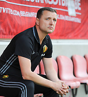 20170613 - LEUVEN ,  BELGIUM : Belgian coach Ives Serneels  pictured during the female soccer game between the Belgian Red Flames and Japan , a friendly game before the European Championship in The Netherlands 2017  , Tuesday 13 th Juin 2017 at Stadion Den Dreef  in Leuven , Belgium. PHOTO SPORTPIX.BE | DIRK VUYLSTEKE