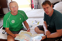 Pictured: Jeff Jones (R) the son of missing 73 year old Robert Arthur Jones, checking a Chania map with an unnamed friend (L) who travelled from north Wales to assist in the search.<br />