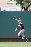 Texas A&M Aggies outfielder Krey Bratsen #13 makes a catch during the NCAA baseball game against the Texas Longhorns on April 28, 2012 at UFCU Disch-Falk Field in Austin, Texas. The Aggies beat the Longhorns 12-4. (Andrew Woolley / Four Seam Images)..