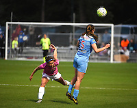 Kansas City, MO - Friday May 13, 2016: FC Kansas City forward Shea Groom (2) against Chicago Red Stars defender Katie Naughton (5) during a regular season National Women's Soccer League (NWSL) match at Swope Soccer Village. The match ended 0-0.