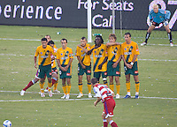LA Galaxy wall with Galaxy GK Kevin Hartman looking on during a MLS match. The Galaxy beat FC Dallas 2-0 at the Home Depot Center in Carson, California, Sunday August 20, 2006.
