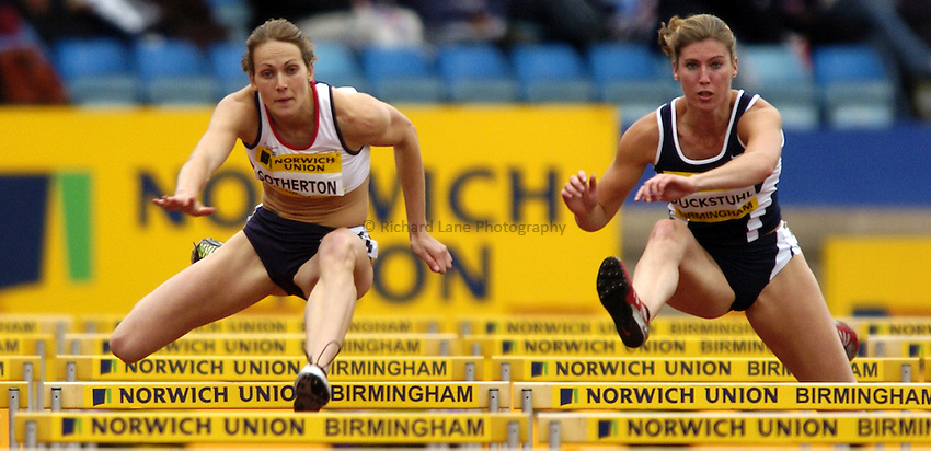 Photo. Richard Lane. Norwich Union International. Alexander Stadium, Birmingham. 25/07/2004..Triple Event Challenge..Kelly Sotheton and Karin Ruckstuhl hurdling.