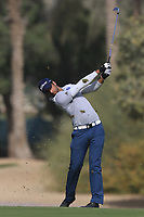 Aaron Rai (ENG) on the 3rd during Round 3 of the Omega Dubai Desert Classic, Emirates Golf Club, Dubai,  United Arab Emirates. 26/01/2019<br /> Picture: Golffile | Thos Caffrey<br /> <br /> <br /> All photo usage must carry mandatory copyright credit (© Golffile | Thos Caffrey)