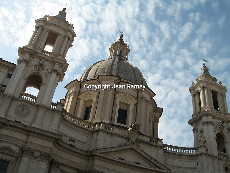 The Sant'Agnese in Agone church towers over the Piazza Navona in Rome.