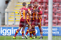 Charlie Wyke of Bradford City celebrates scoring his first of 3 goals during the Sky Bet League 1 match between Bradford City and Bristol Rovers at the Northern Commercial Stadium, Bradford, England on 2 September 2017. Photo by Thomas Gadd.