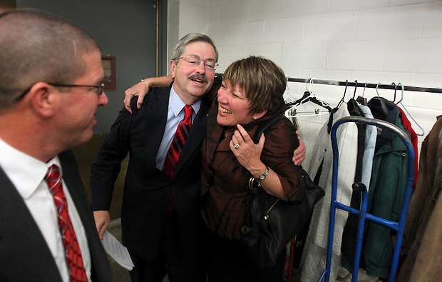 Governor-elect Terry Branstad is embraced by family members upon his arrival to the Republican Party election night rally at the Hy-Vee Conference Center in West Des Moines on Tuesday night, November 2, 2010.